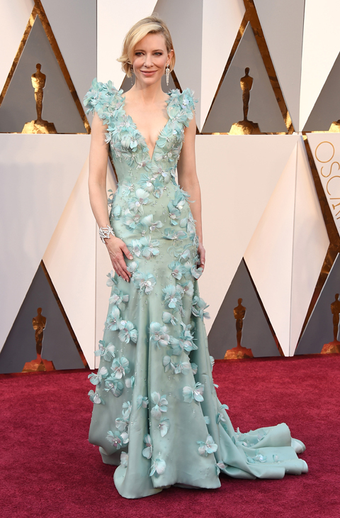 Cate Blanchett arrives at the Oscars on Sunday, Feb. 28, 2016, at the Dolby Theatre in Los Angeles. (Photo by Jordan Strauss/Invision/AP)