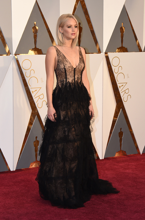 Jennifer Lawrence arrives at the Oscars on Sunday, Feb. 28, 2016, at the Dolby Theatre in Los Angeles. (Photo by Jordan Strauss/Invision/AP)