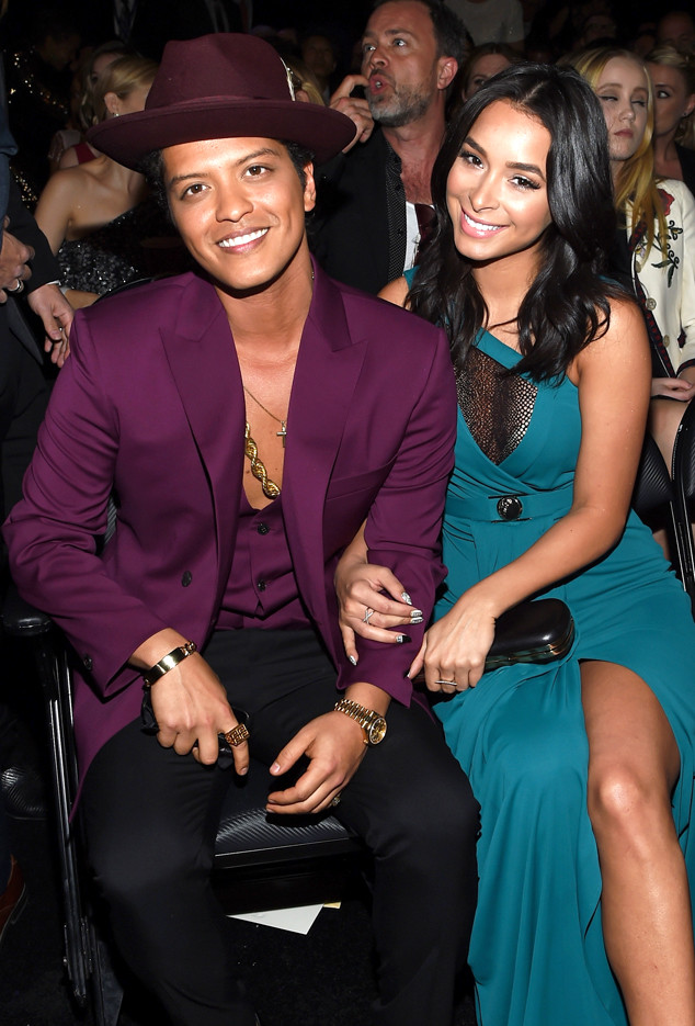 LOS ANGELES, CA - FEBRUARY 15: Singer Bruno Mars (L) and Jessica Caban attend The 58th GRAMMY Awards at Staples Center on February 15, 2016 in Los Angeles, California. (Photo by Larry Busacca/Getty Images for NARAS)