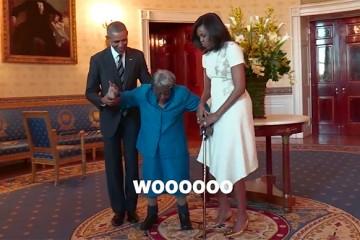 Una mujer de 106 años baila de felicidad al conocer a Obama