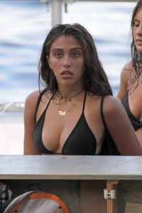 102830, SAINT-JEAN-CAP-FERRAT, FRANCE - Thursday August 15, 2013. Lourdes joins mum Madonna and Madonna's boyfriend, Brahim Zaibat on a jet ski excursion as the family continue their French holiday. The 17 year old showed off her blossoming bikini body while Madonna, who celebrates her 55th birthday tomorrow, covered up in black shorts and work out top.**UK & USA ONLY** Photograph: © PacificCoastNews.com **FEE MUST BE AGREED PRIOR TO USAGE** **E-TABLET/IPAD & MOBILE PHONE APP PUBLISHING REQUIRES ADDITIONAL FEES** LOS ANGELES OFFICE: +1 310 822 0419 LONDON OFFICE: +44 20 8090 4079