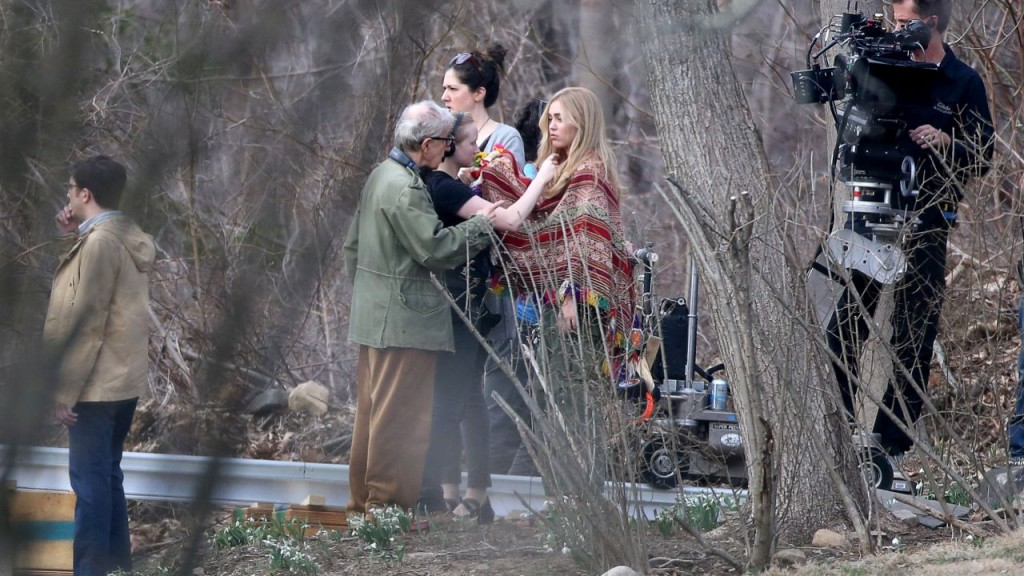 03/10/2016 The cameras for the Woody Allen project starring Miley Cyrus just started rolling in Westchester New York. Miley was spotted on location of the Woody Allen's six-episode, half-hour series, which is set in the 1960's. Miley looked the part in a multi-colored poncho and green army fatigues. Also staring in the production is House of Cards alumna Rachel Brosnahan, along with John Magaro, Elaine May and of course Woody Allen. Please byline:TheImageDirect.com