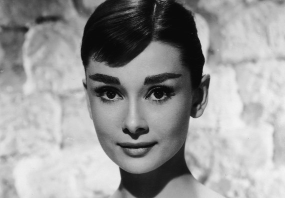 Portrait of Belgian-born American actress Audrey Hepburn (1929 - 1993) ina white long-sleeved dress, mid 1950s. (Photo by /Getty Images)
