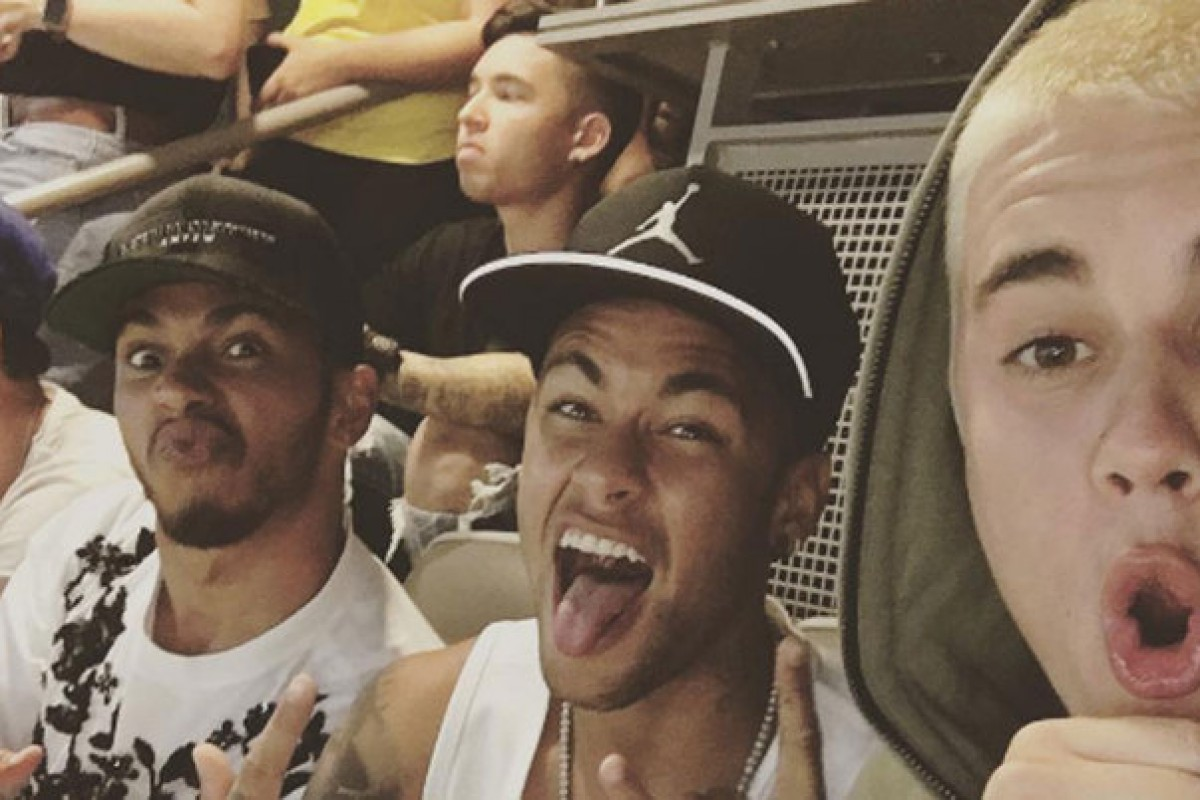 Justin Bieber, Neymar y Lewis Hamilton en la Copa América