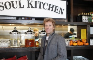 "RED BANK, NJ - OCTOBER 19: Singer Jon Bon Jovi attends the opening of the Jon Bon Jovi Soul Foundation's Soul Kitchen, a ""pay-what-you-can"" dining model, where both cash donations and volunteer hours are accepted as forms of payment, in Red Bank, New Jersey on October 19, 2011. CREDIT: Amy Sussman for The Wall Street Journal Slug: NYHEARD_SOULKITCHEN"