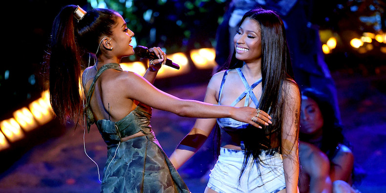 LOS ANGELES, CA - NOVEMBER 20: Singers Ariana Grande (L) and Nicki Minaj perform onstage during the 2016 American Music Awards at Microsoft Theater on November 20, 2016 in Los Angeles, California. (Photo by Kevin Winter/Getty Images)