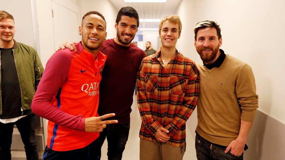 Messi, Suárez, Neymar y Bieber. Foto: FC Barcelona