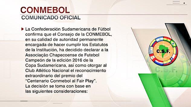 Comunicado oficial de la Conmebol