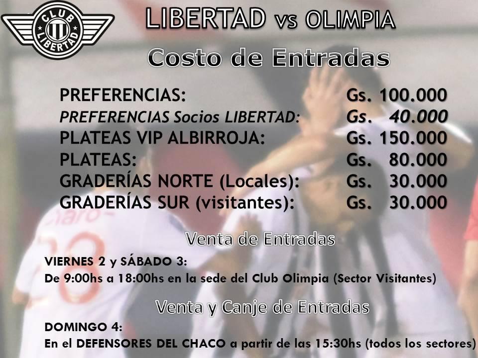 El precio de las entradas para Libertad vs Olimpia 2016. Imagen: Club Libertad