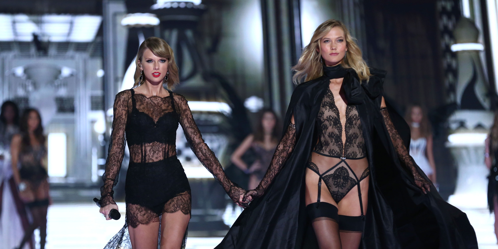 LONDON, ENGLAND - DECEMBER 02:  Taylor Swift and Karlie Kloss walk the runway at the annual Victoria's Secret fashion show at Earls Court on December 2, 2014 in London, England.  (Photo by Tim P. Whitby/Getty Images)