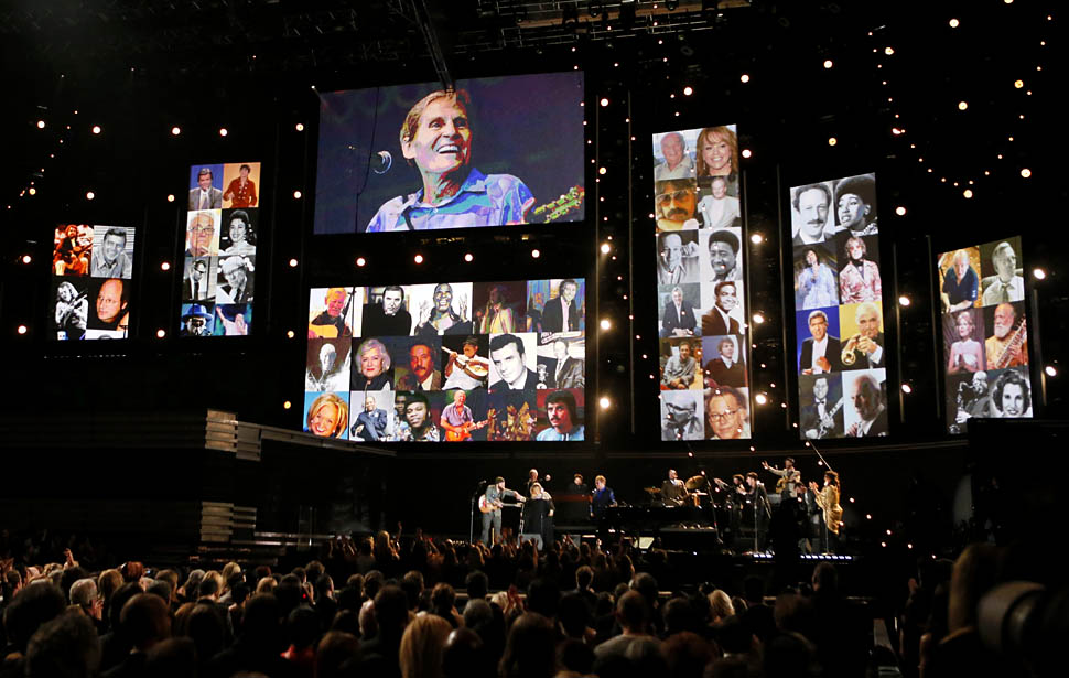 Photos in memory of recently deceased musicians, at the 55th Annual GRAMMY(R) Awards at STAPLES Center in Los Angeles, CA. Sunday, February 10, 2013. Pre-telecast show at Nokia Theater L.A. Live.