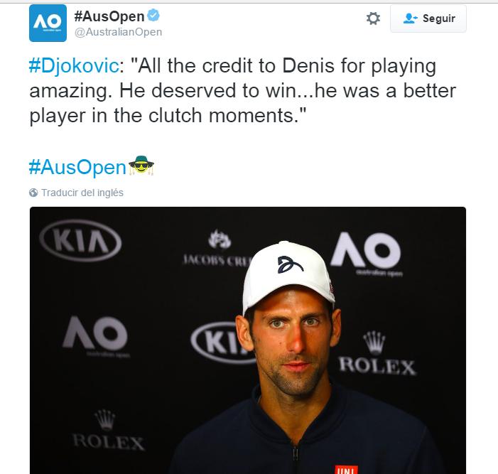 Djokovic se despide del  #AustralianOpen.