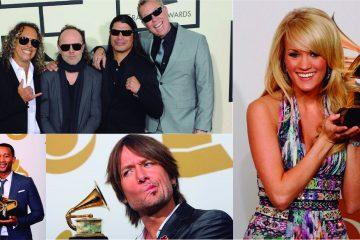 Metallica, John Legend, Carrie Underwood y Keith Urban, en el escenario de Los Grammys