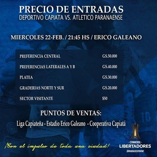 Capiata Libertadores precio entradas