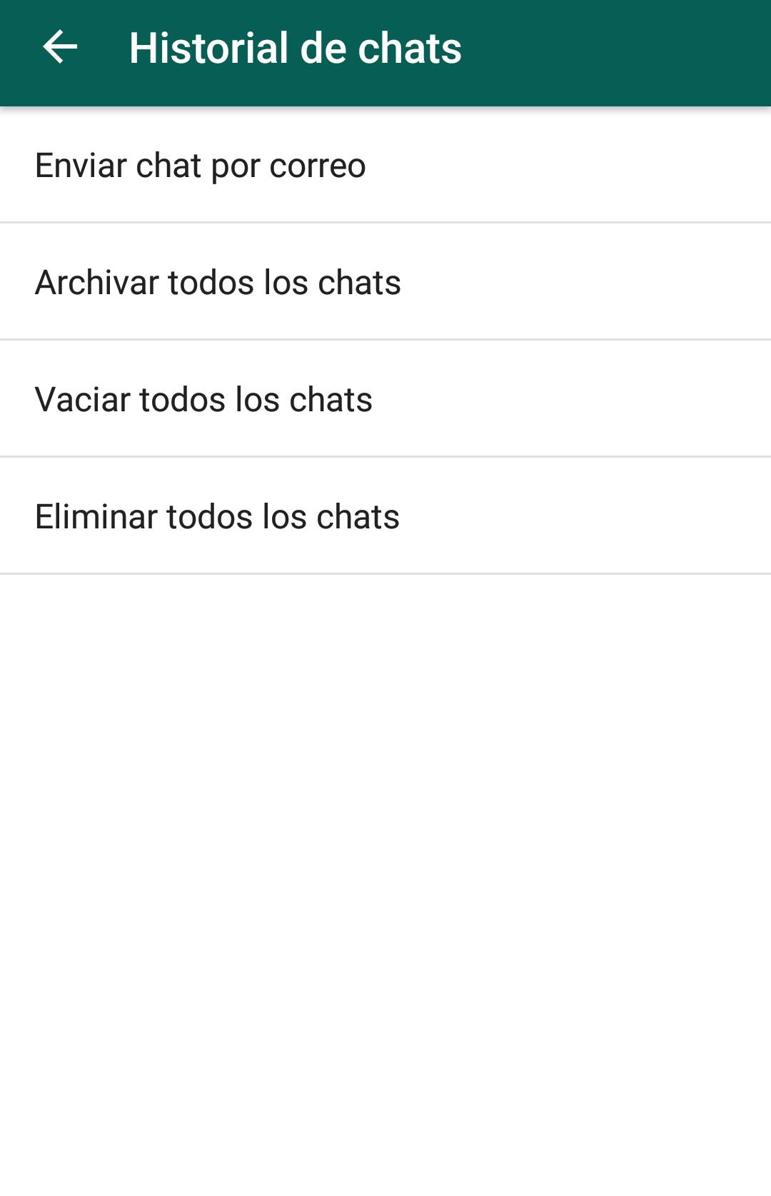 WhatsApp enviar chat por correo
