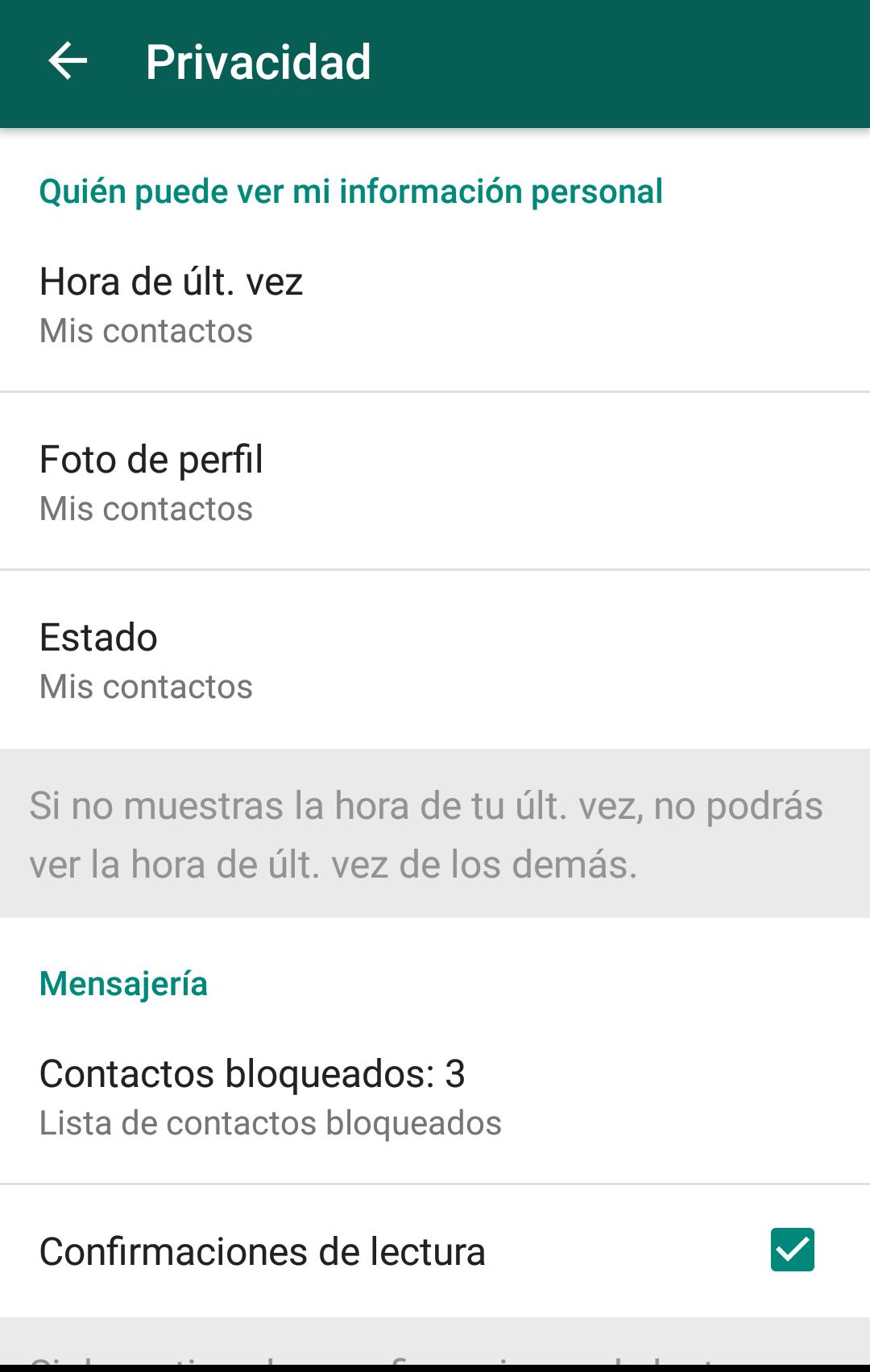 WhatsApp ultima hora de conexion
