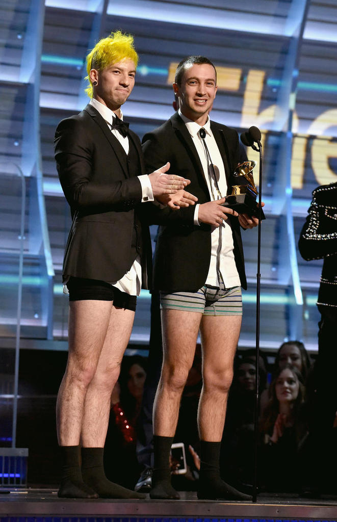 LOS ANGELES, CA - FEBRUARY 12:   Recording artists Josh Dun (L) and Tyler Joseph of music group Twenty One Pilots accept the Best Pop Duo/Group Performance award for 'Stressed Out' onstage during The 59th GRAMMY Awards at STAPLES Center on February 12, 2017 in Los Angeles, California.  (Photo by Lester Cohen/Getty Images for NARAS)
