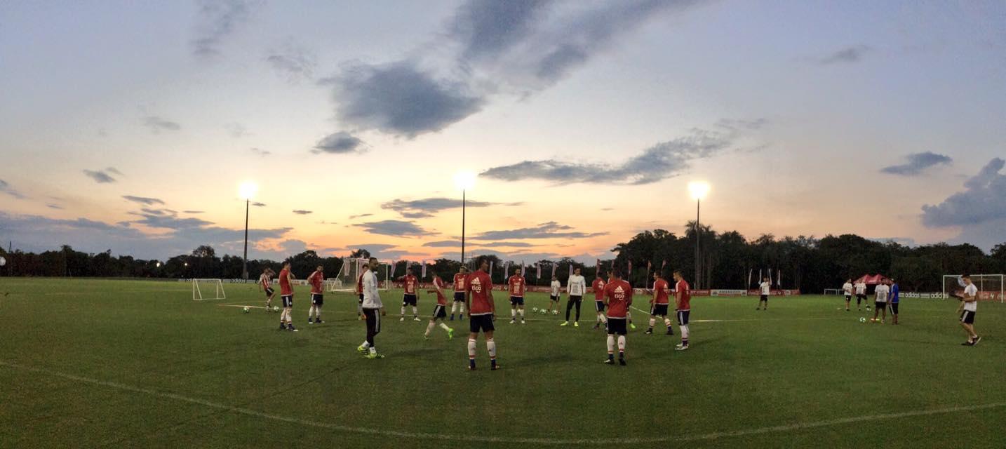 Entrenamento de la selección en Albiroga. Foto; @selecciónparaguayadefútbol