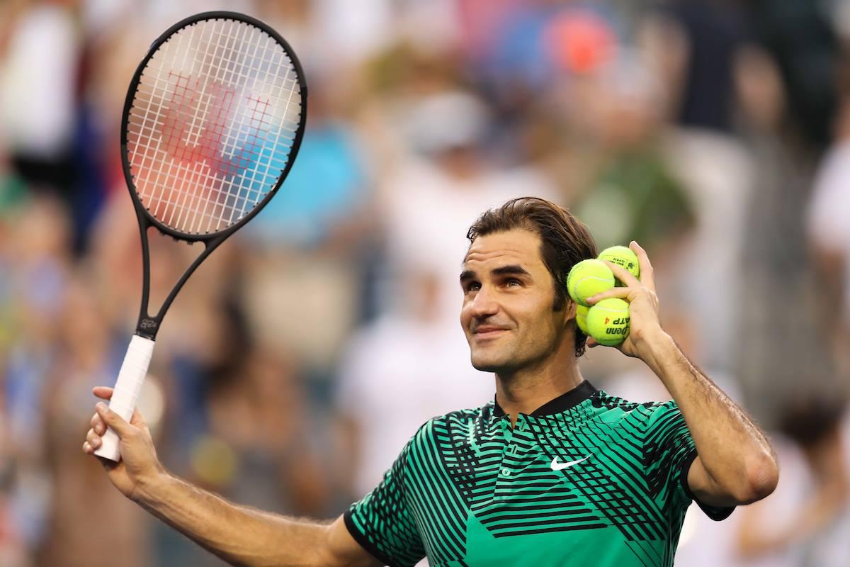 Roger Federer al conseguir el titulo en Indian Wells.
