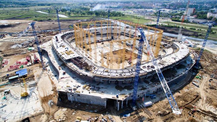 Estadio Yubileini en Saransk durante su construcción. Foto: Wikipedia / Kyongwon