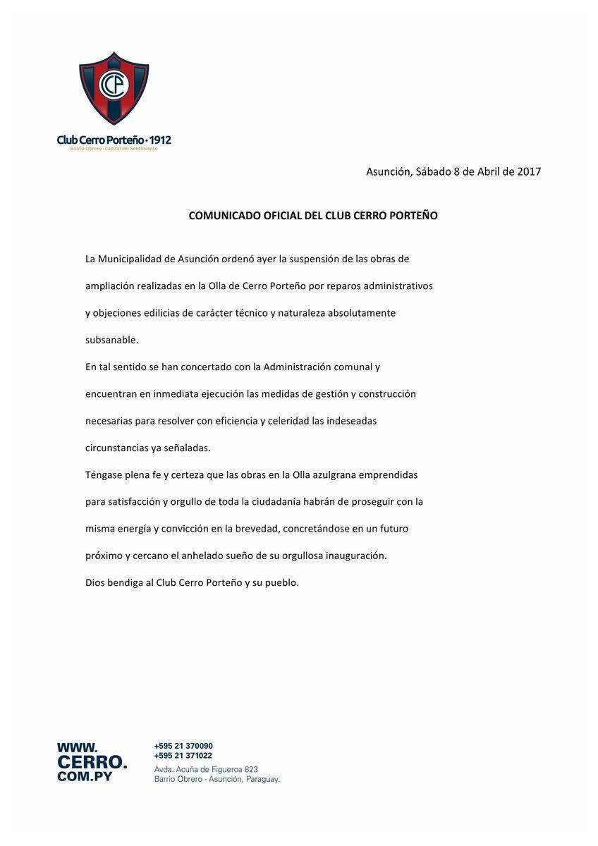 Comunicado Cerro Porteño