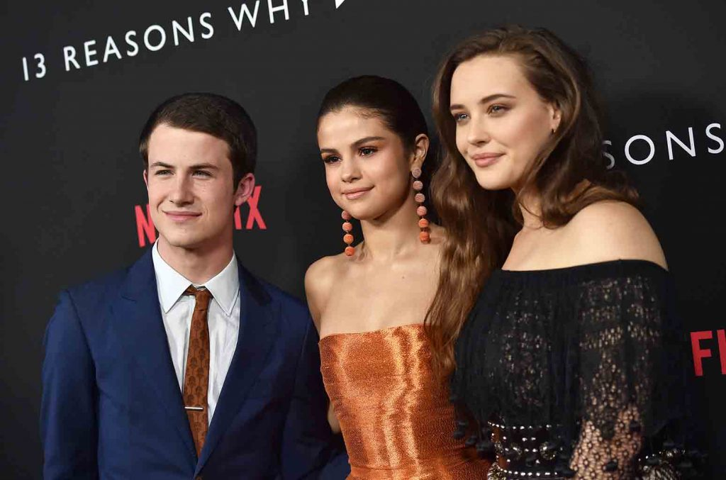 LOS ANGELES, CA - MARCH 30: (L-R) Actors Dylan Minnette, Selena Gomez and Katherine Langford arrive at the Premiere of Netflix's '13 Reasons Why' at Paramount Pictures on March 30, 2017 in Los Angeles, California. (Photo by Axelle/Bauer-Griffin/FilmMagic)