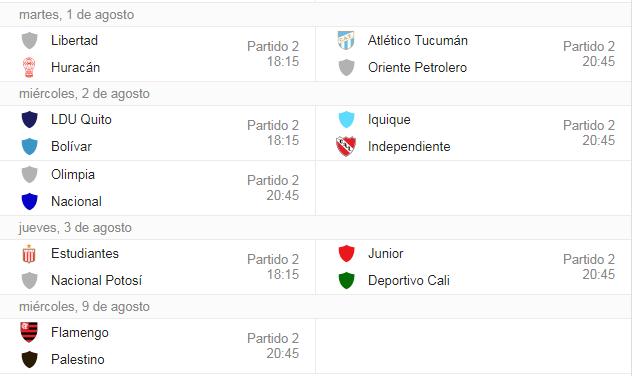 Fixture Segunda Fase Copa Sudamericana.