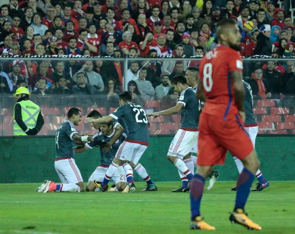 El festejo de los albirrojos tras el gol en contra de Vidal. Foto: @albirroja