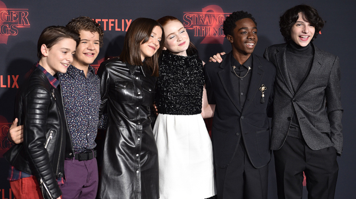 Mandatory Credit: Photo by Stewart Cook/REX/Shutterstock (9176184eo) Noah Schnapp, Gaten Matarazzo, Millie Bobby Brown, Sadie Sink, Caleb McLaughlin and Finn Wolfhard 'Stranger Things 2' TV show premiere, Arrivals, Los Angeles, USA - 26 Oct 2017