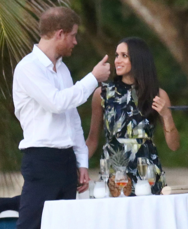 52334388 Royal couple Prince Harry and his girlfriend Meghan Markle were spotted attending a friend's wedding near Miami, Florida on March 3, 2017. Harry and Meghan enjoyed the festivities with the whole group before breaking off for some private conversation at a small table. FameFlynet, Inc - Beverly Hills, CA, USA - +1 (310) 505-9876