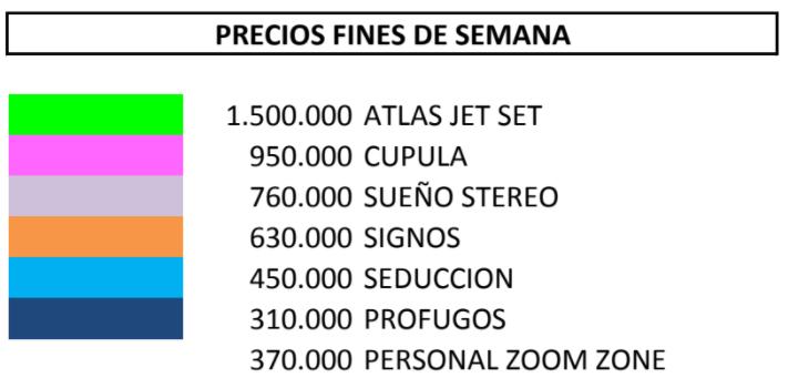 PRECIOS FINES DE SEMANA