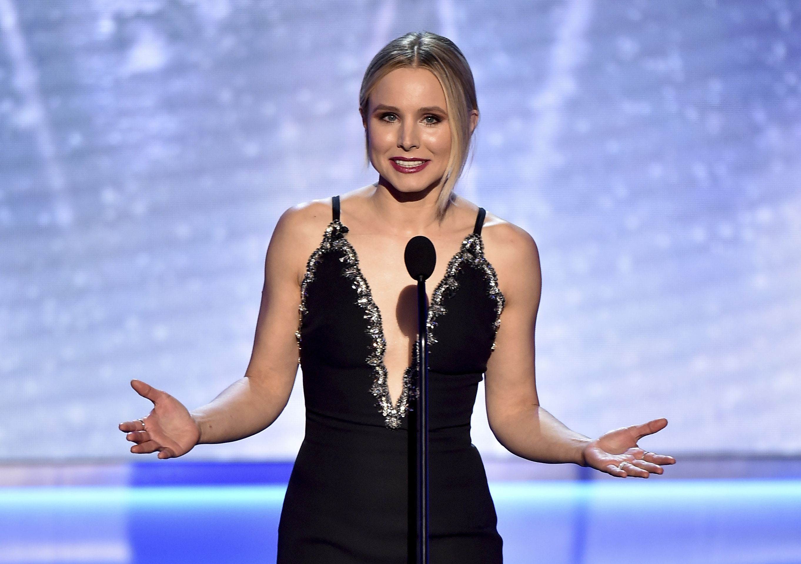 Mandatory Credit: Photo by Vince Bucci/Invision/AP/REX/Shutterstock (9328499c) Host Kristen Bell speaks on stage at the 24th annual Screen Actors Guild Awards at the Shrine Auditorium & Expo Hall, in Los Angeles 24th Annual SAG Awards - Show, Los Angeles, USA - 21 Jan 2018