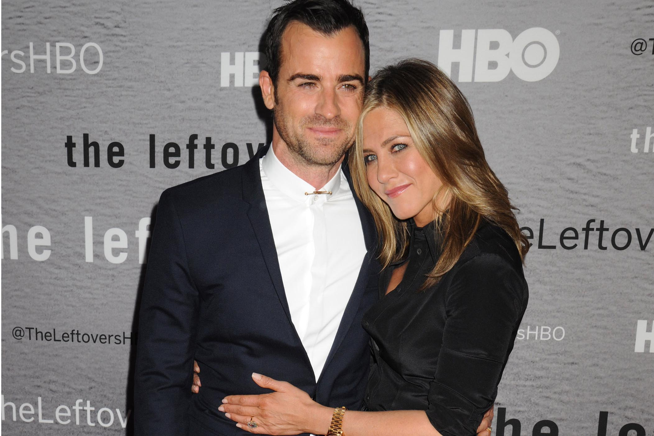 """Consciously coupled lovebirds actors Justin Theroux (star of the series) and Jennifer Aniston arrive for the New York Premiere of HBO's new series """"The Leftovers"""", held at the NYU Skirball Center in Greenwich Village in NYC Pictured: Justin Theroux and Jennifer Aniston Ref: SPL786039 230614 Picture by: Johns PKI/Splash News Splash News and Pictures Los Angeles: 310-821-2666 New York: 212-619-2666 London: 870-934-2666 photodesk@splashnews.com"""