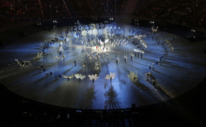 Mandatory Credit: Photo by Charlie Riedel/AP/REX/Shutterstock (9366845aq) Dancers perform during the opening ceremony of the 2018 Winter Olympics in Pyeongchang, South Korea Olympics Opening Ceremony, Pyeongchang, South Korea - 09 Feb 2018