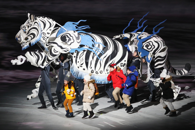 PYEONGCHANG-GUN, SOUTH KOREA - FEBRUARY 09: White Tiger & Five Kids perform during the Opening Ceremony of the PyeongChang 2018 Winter Olympic Games at PyeongChang Olympic Stadium on February 9, 2018 in Pyeongchang-gun, South Korea. (Photo by Jamie Squire/Getty Images)