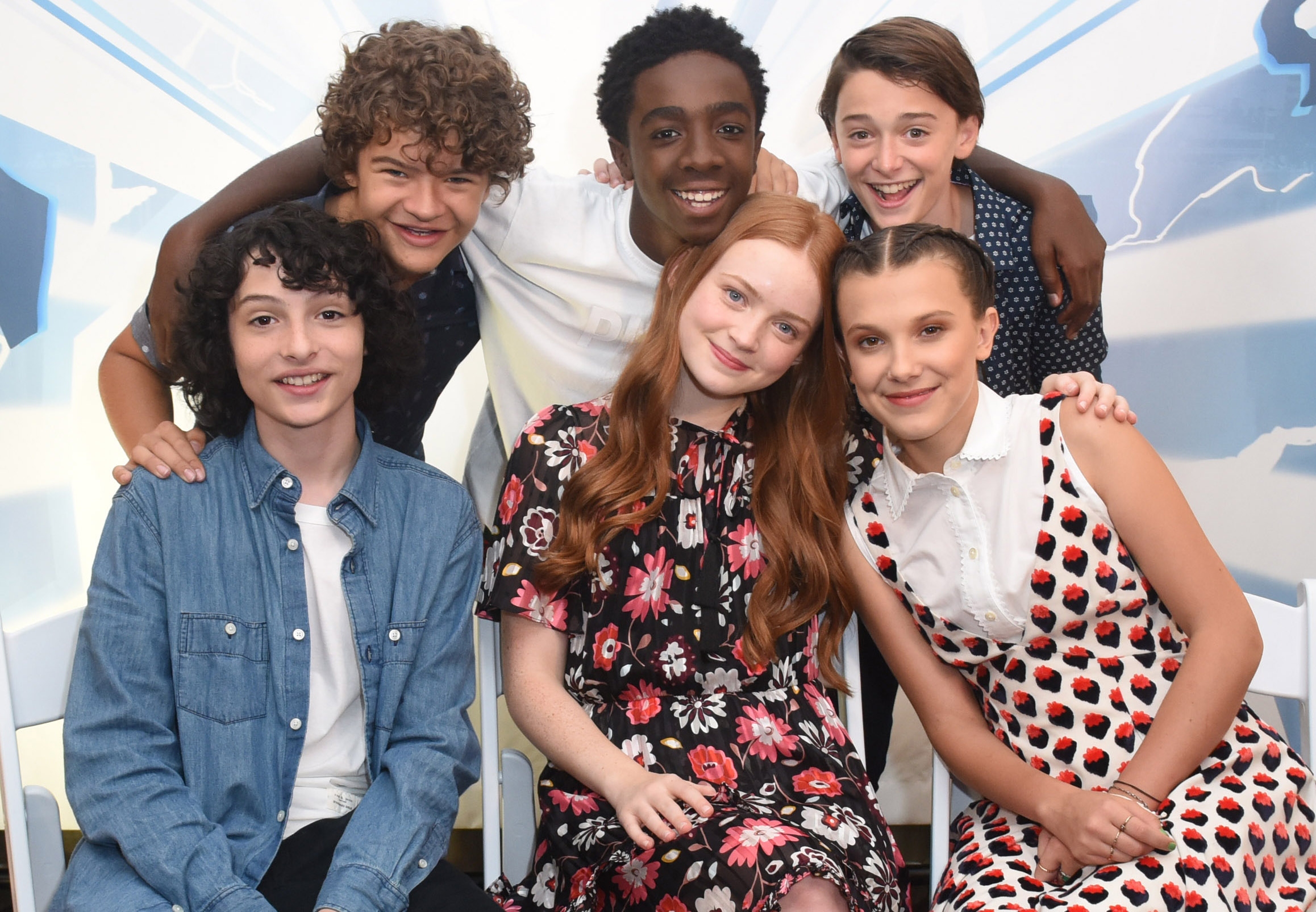 SAN DIEGO, CA - JULY 22: Gaten Matarazzo, Caleb McLaughlin, Noah Schnapp, Finn Wolfhard, Sadie Sink and Millie Bobby Brown attend SiriusXM's Entertainment Weekly Radio Channel Broadcasts From Comic Con 2017 at Hard Rock Hotel San Diego on July 22, 2017 in San Diego, California. (Photo by Vivien Killilea/Getty Images for SiriusXM)