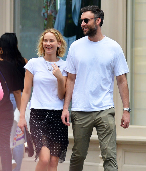 06/05/2018 PREMIUM EXCLUSIVE: NEW COUPLE ALERT! Jennifer Lawrence walks arm in arm with new boyfriend Cooke Maroney in New York City. The 27 year old actress looked positively giddy as she and the New York art gallerist went for a drink at Sant Ambroeus in Soho followed by dinner and then the couple headed off to Maroney's luxury apartment. Lawrence wore a white t-shirt, polka dot skirt, and black mules.  sales@theimagedirect.com Please byline:TheImageDirect.com *EXCLUSIVE PLEASE EMAIL sales@theimagedirect.com FOR FEES BEFORE USE