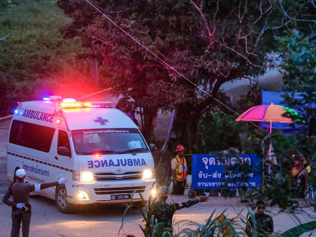 CHIANG RAI, THAILAND - July 9: Two ambulances carrying the sixth and seventh boys freed from the Tham Luang Nang Non cave site to a hospital in Chiang Rai on July 9, 2018 in Chiang Rai, Thailand. Divers began an effort to free the 12 boys and their soccer coach on Sunday morning after they were found alive in the cave in northern Thailand. Videos released by the Thai Navy SEAL shows the boys, aged 11 to 16, and their 25-year-old coach are in good health in Tham Luang Nang Non cave and the challenge now will be to extract the party safely. (Photo by Linh Pham/Getty Images)