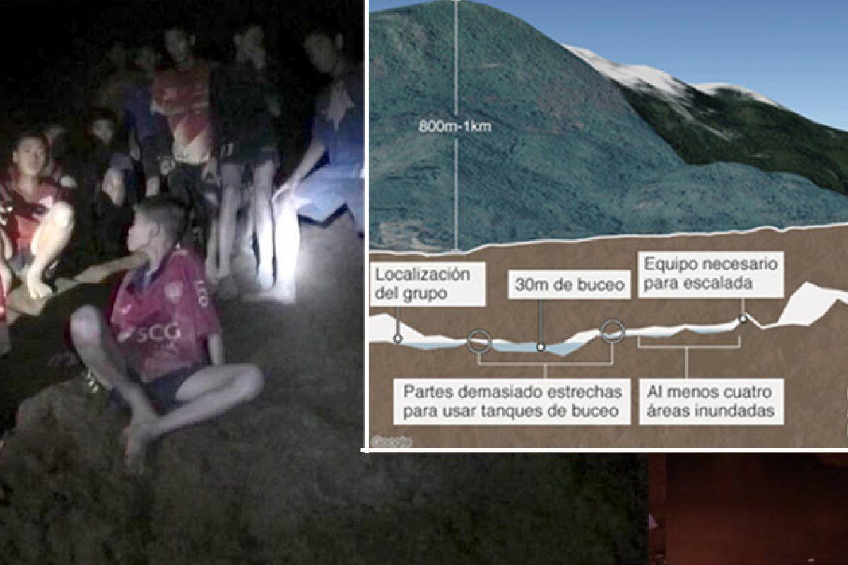 12 niños y su entrenador siguen atrapados en cueva en Tailandia