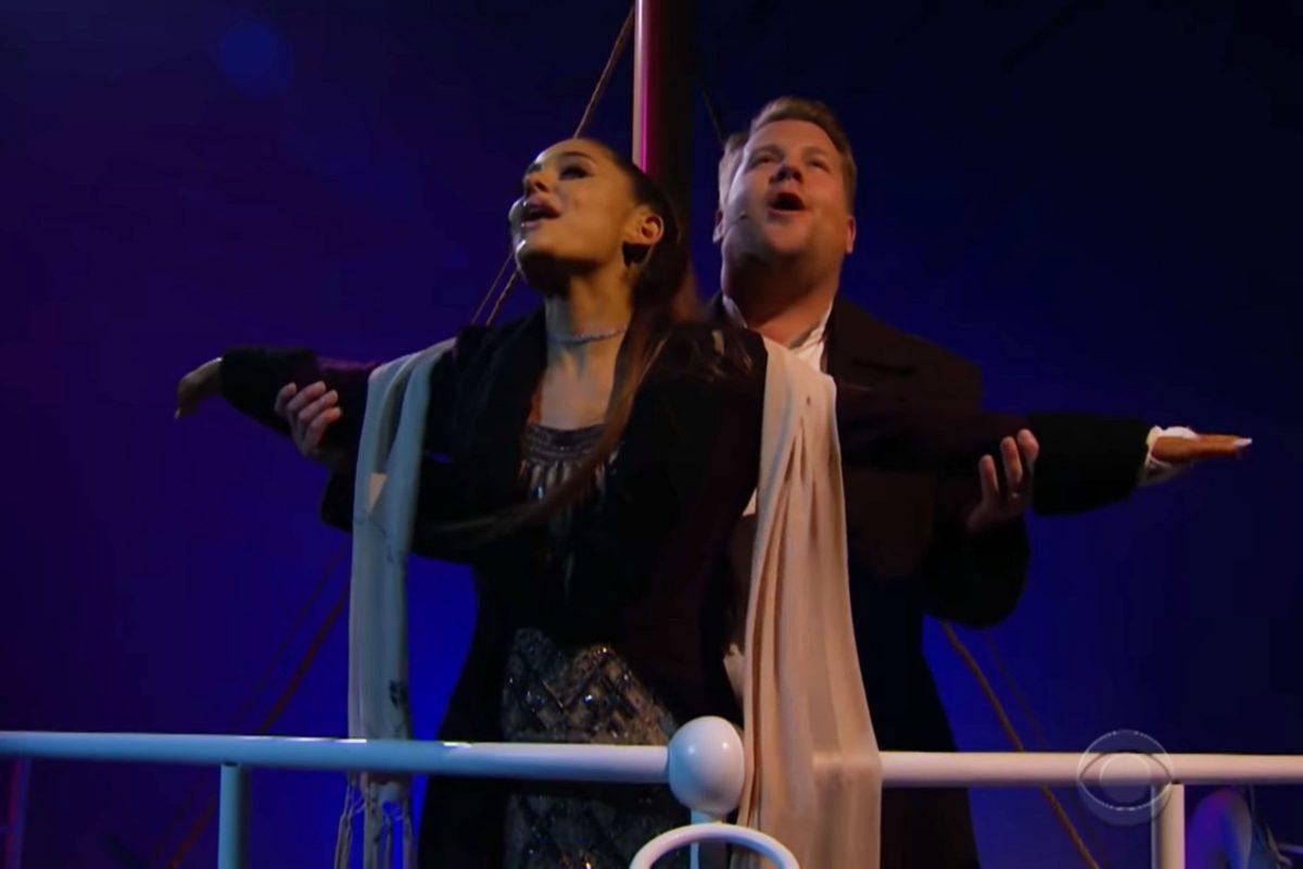 Ariana Grande y James Corden recrearon escenas de Titanic