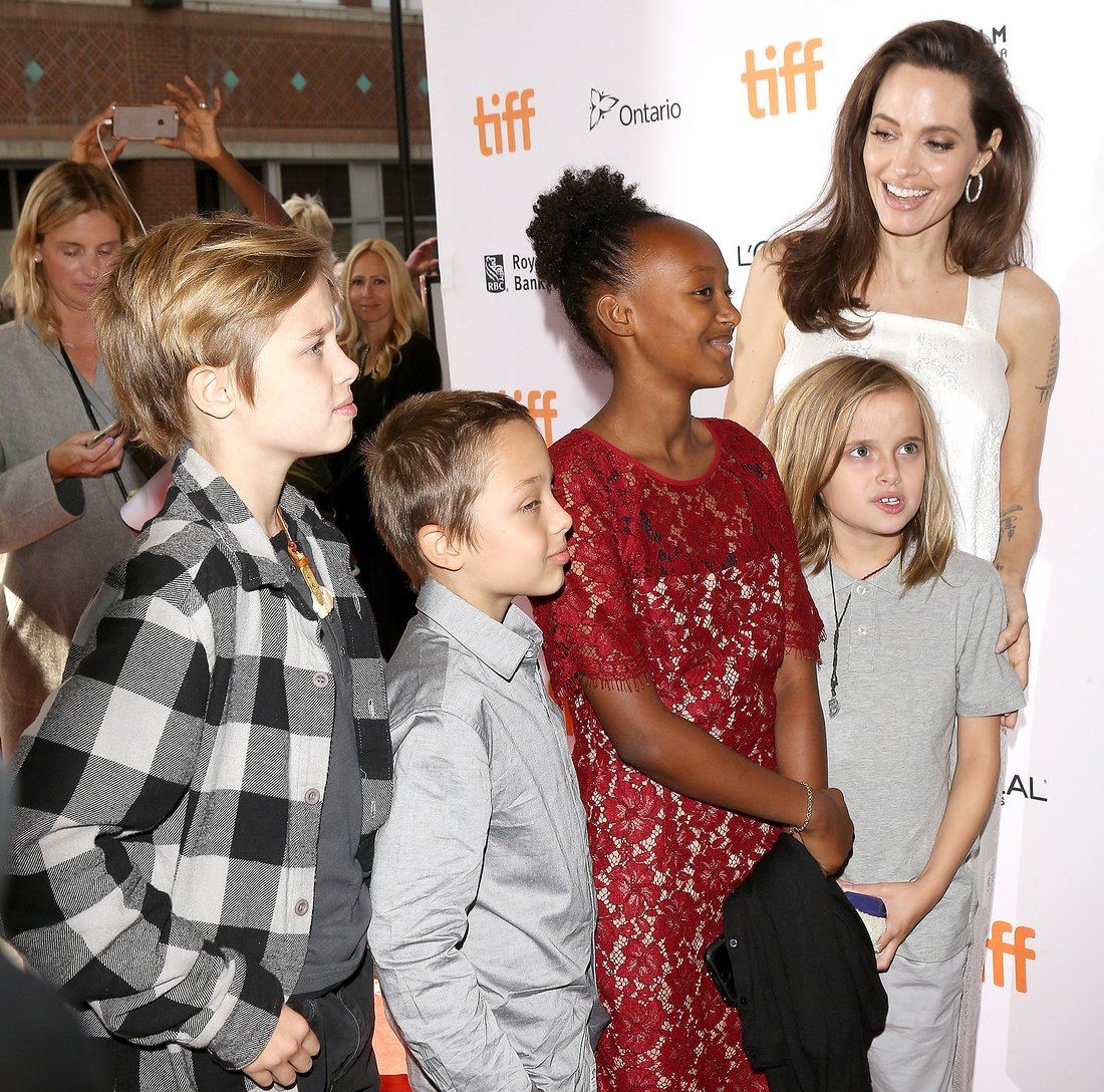 "TORONTO, ON - SEPTEMBER 10:  Angelina Jolie with her children arrive to the ""The Breadwinner"" premiere - 2017 TIFF - Premieres, Photo Calls and Press Conferences held on September 10, 2017 in Toronto, Canada.  (Photo by Michael Tran/Getty Images)"