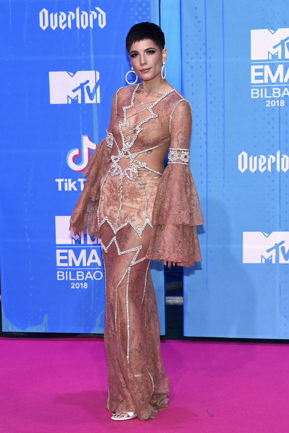 BILBAO, SPAIN - NOVEMBER 04:  Halsey attends the MTV EMAs 2018 at Bilbao Exhibition Centre on November 4, 2018 in Bilbao, Spain.  (Photo by Carlos Alvarez/Getty Images for MTV)
