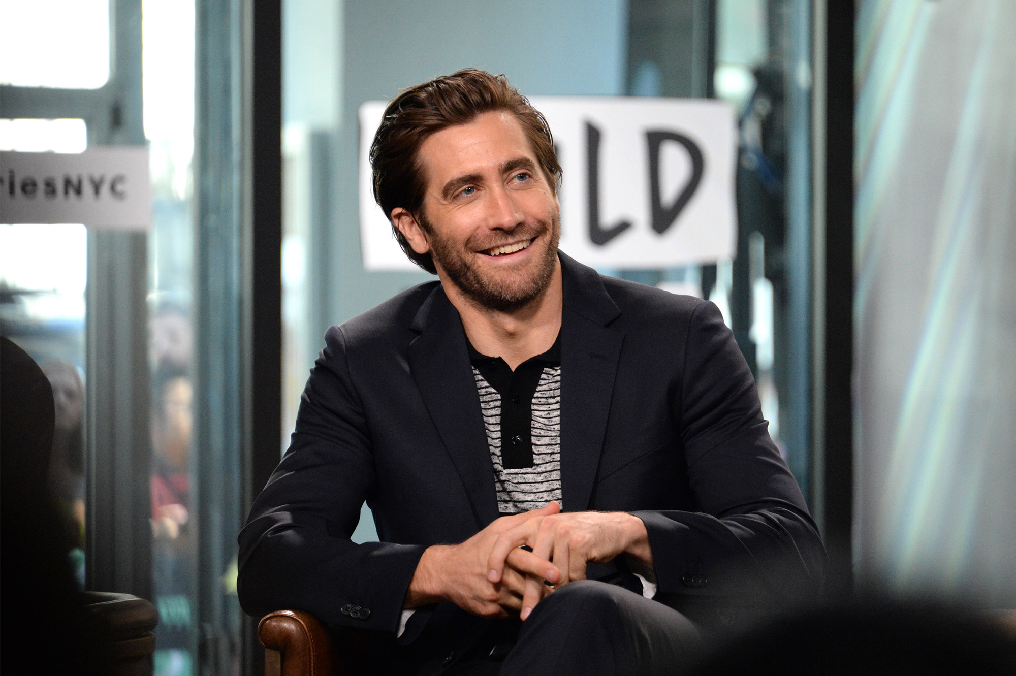 "NEW YORK, NY - SEPTEMBER 15: Jake Gyllenhaal discusses ""Stronger"" at Build Studio on September 15, 2017 in New York City. (Photo by Andrew Toth/FilmMagic)"