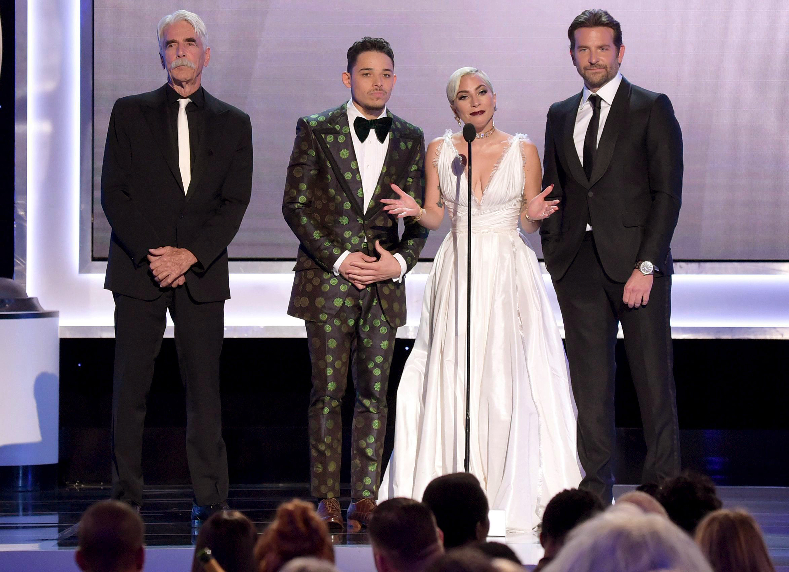 "Mandatory Credit: Photo by Richard Shotwell/Invision/AP/REX/Shutterstock (10074895v) Sam Elliott, Anthony Ramos, Lady Gaga, Bradley Cooper. Sam Elliott, from left, Anthony Ramos, Lady Gaga and Bradley Cooper, nominated for outstanding performance by a cast in a motion picture, introduce a clip from their film ""A Star Is Born"" at the 25th annual Screen Actors Guild Awards at the Shrine Auditorium & Expo Hall, in Los Angeles 25th Annual SAG Awards - Show, Los Angeles, USA - 27 Jan 2019"