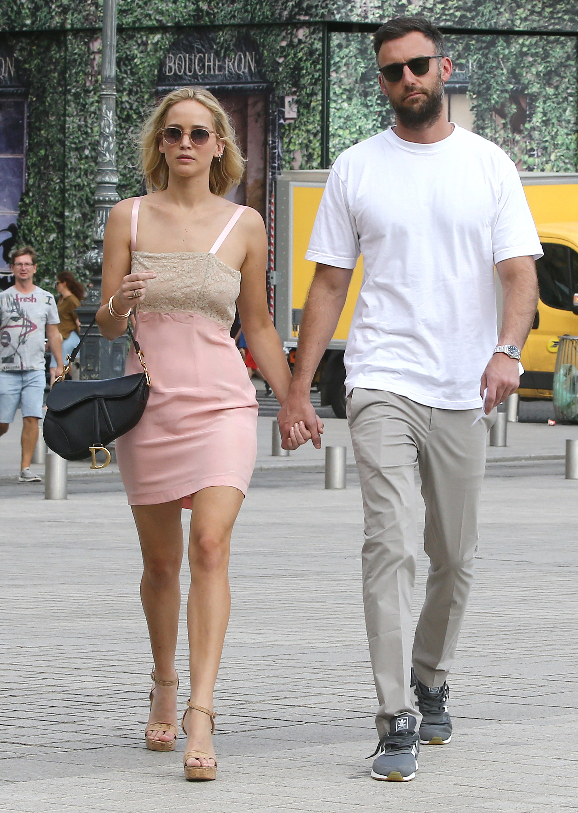 08/08/2018 Jennifer Lawrence is spotted on a romantic stroll with Cooke Maroney in Paris, France. The 27-year-old Oscar-winning actress and the art gallery director held hands while heading out together. Jennifer looked chic in a pale pink dress for her day out with her beau.   sales@theimagedirect.com Please byline:TheImageDirect.com
