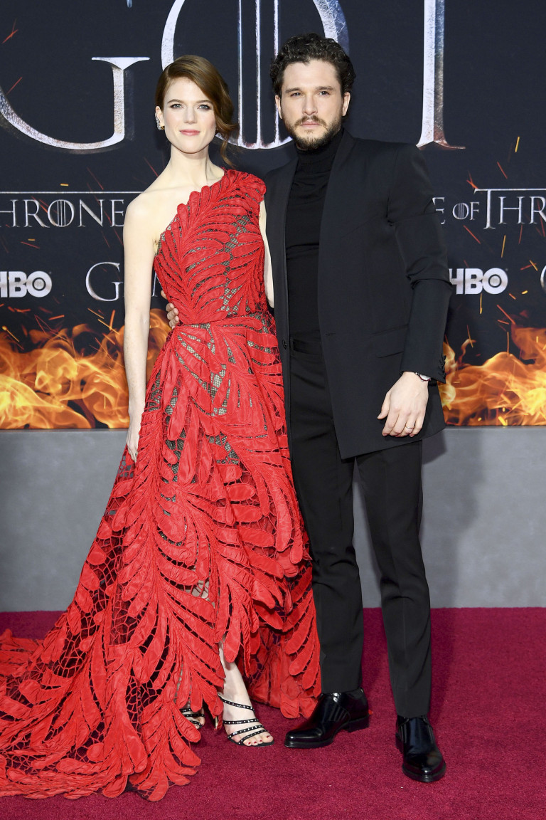 "NEW YORK, NEW YORK - APRIL 03: Rose Leslie and Kit Harington attend the ""Game Of Thrones"" Season 8 Premiere on April 03, 2019 in New York City. (Photo by Dimitrios Kambouris/Getty Images)"