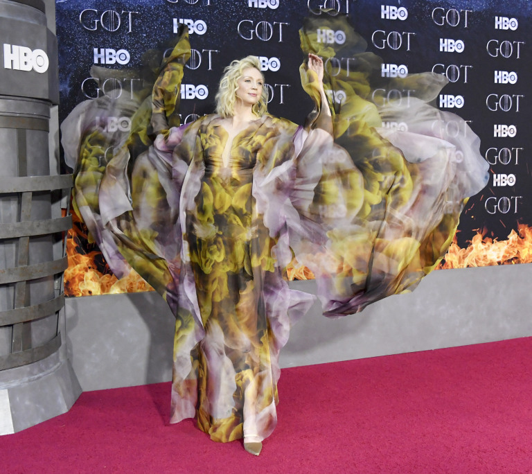 """NEW YORK, NY - APRIL 03: Gwendoline Christie attends the """"Game Of Thrones"""" season 8 premiere on April 3, 2019 in New York City. (Photo by Mike Coppola/FilmMagic)"""